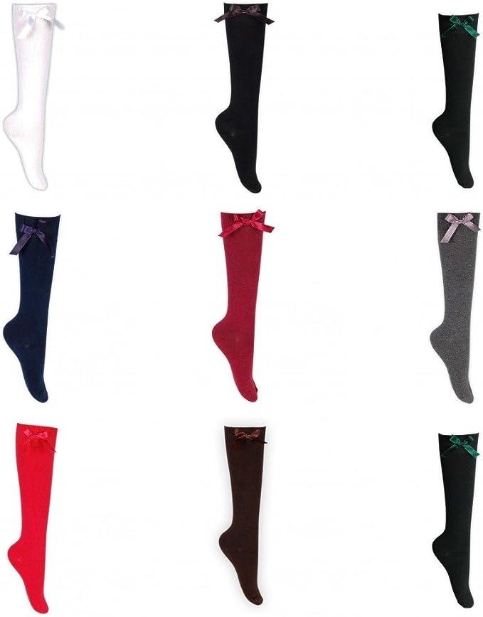 Knee High Bow Socks Ribbon School Long Length Cotton Stretch Girls Ladies