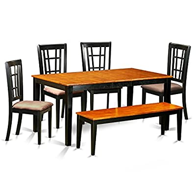 NICO6-BLK-C 6 PC Kitchen Table set-Dining Table and 4 Dining Chairs plus a bench in Black - This 6 piece dining set Includes dining table and 4 microfiber seat dining room chairs finished in Black and Cherry The table offers you a twelve inch self storage Butterfly Leaf, that's Stored Right Beneath table top This kitchen dinette table is constucted from All Asian Solid wood from top to bottom. No MDF, or softwood venner used. - kitchen-dining-room-furniture, kitchen-dining-room, dining-sets - 51r1G2knVPL. SS400  -