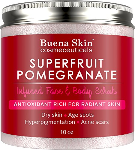 (Pomegranate Brightening Face & Body Scrub - Renews Your Skin's Youthful Radiance | Great For Dry Skin, Age Spots, Hyperpigmentation, Acne Flare-Ups and Acne Scars 10oz By Buena Skin)