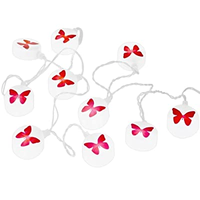 §§ Guirlande Lumineuse de 10 Papillons en rouge et blanc. 10 LEDs blancs alimentés par des piles (3 x AA)