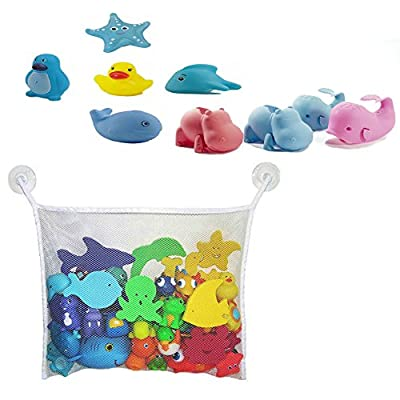 Baby Toddler Whale Hippo Faucet Cover with Bath Toy Organizer & Ocean Squirts 5 Bath Toys Play Fun