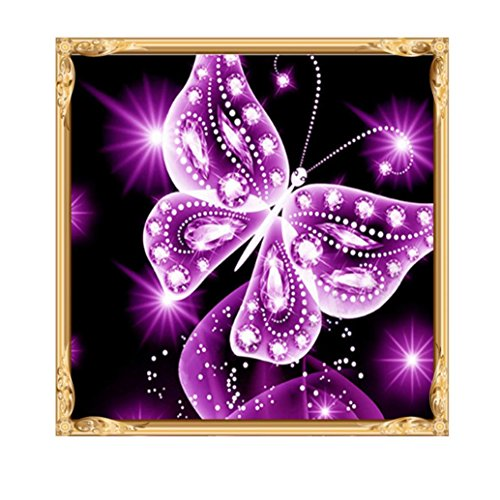 KingWo 5D Diamond Painting Cross Stitch Kits DIY Handmade Embroidery Painting Rhinestone Cross-Stitching Set Mosaic Home Room Decoration Purple Butterfly (B) (Friend Cross Welcome)