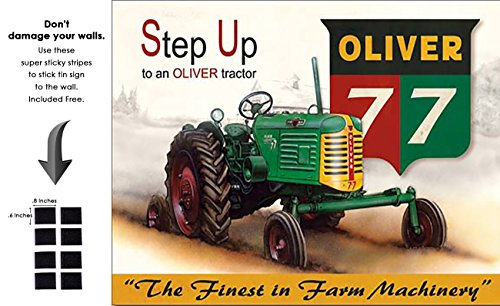 Shop72 - AGCO Corporation Step Up to an Oliver Tractor Tin Sign Retro Vintage Distrssed - with Sticky Stripes No Damage to ()