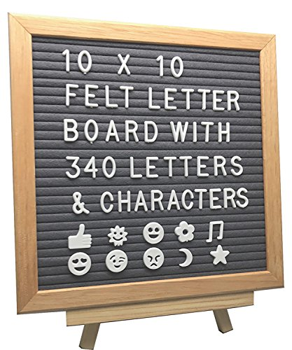 Gray Felt Letter Board 10x10 Inches | Includes Wooden Stand, Canvas Bag, Wall Mount, Changeable 340pc White Plastic Characters, Letters, Numbers, Symbols, and Emojis | Create Fun Messages
