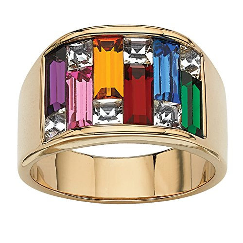 Palm Beach Jewelry Yellow Gold Ion-Plated Baguette Multi Color Simulated Gemstone Baguette Ring Size 5
