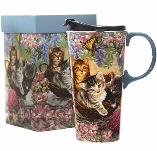 Ceramic Travel Mugs Lid - CEDAR HOME Travel Coffee Ceramic Mug Porcelain Latte Tea Cup With Lid 17oz. Flower and Cat