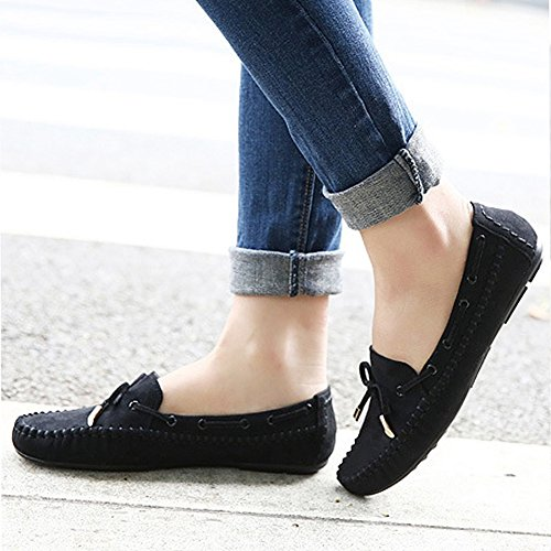 T-JULY Womens Loafers Shoes Casual Moccasin Driving Slip-On Bowknot Suede Comfortable Flat Black 7bRq3jGi3