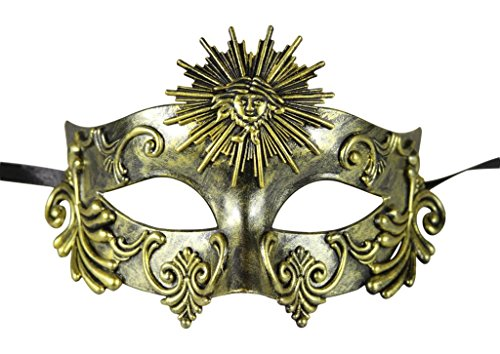 [KAYSO INC Roman Gladiator Men's Venetian Masquerade Mask, Rustic Gold] (Cheap Roman Costumes)