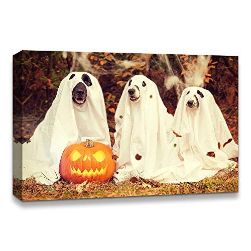 Halloween Pumpkin Artwork (NWT IDEA4WALL Canvas Wall Art Halloween Pumpkin Lantern Painting Artwork for Home Prints Framed - 24x36)