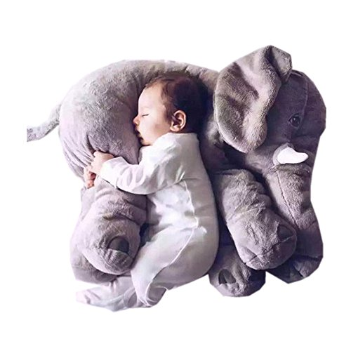 Find Bargain Super Cute Long Nose Elephant Grey Soft Baby Care Plush Pillow for Sleeping Nursery Dec...