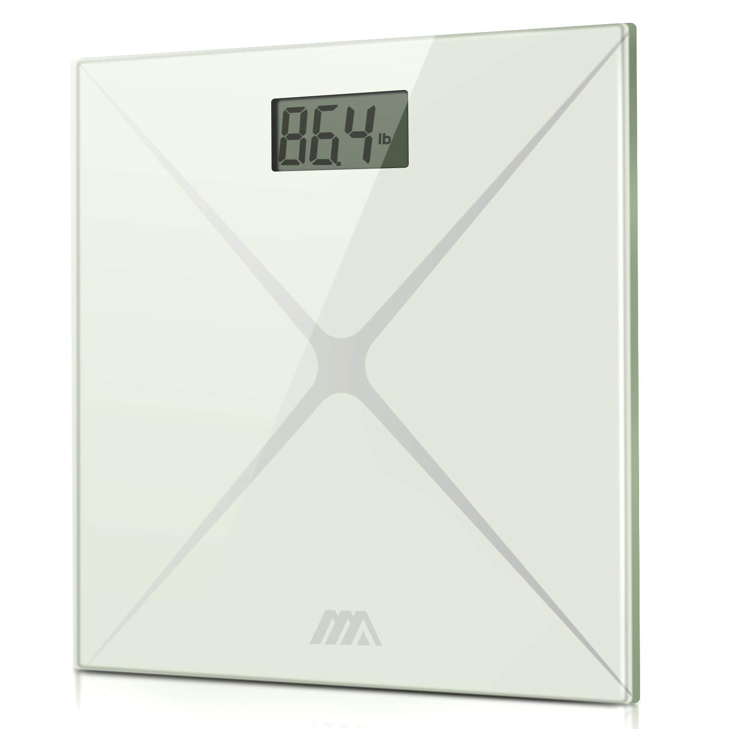 Digital Body Weight Scale, Bathroom Scale with Advanced Step-on Technology and LCD Backlight Display Scale,Tempered Glass Surface (White Silver)