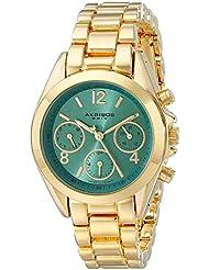 Akribos XXIV Womens AK809YGTQ Multifunction Swiss Quartz Movement Watch with Turquoise Dial and Yellow Gold Bracelet