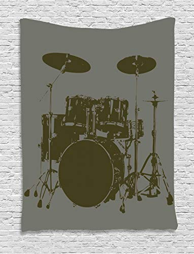 - Ambesonne Music Decor Tapestry, Grunge Drum Kit for Bass Rythm Lovers Ba Dum TSS Image Sketchy Art, Wall Hanging for Bedroom Living Room Dorm, 60WX80L Inches, Purple Grey and Black