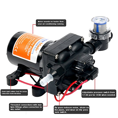Amarine-made 42-Series Washdown Water Pressure Diaphragm Pump w/ Variable Flow - 12v, 3.0GPM, 55PSI by Amarine-made