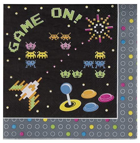 Game Napkins - 100-Pack Disposable Paper Napkins with 80s Themed Arcade Gaming Design, 2-Ply, Game On Birthday Party Supplies, Luncheon Size Folded 6.5 x 6.5 Inches -