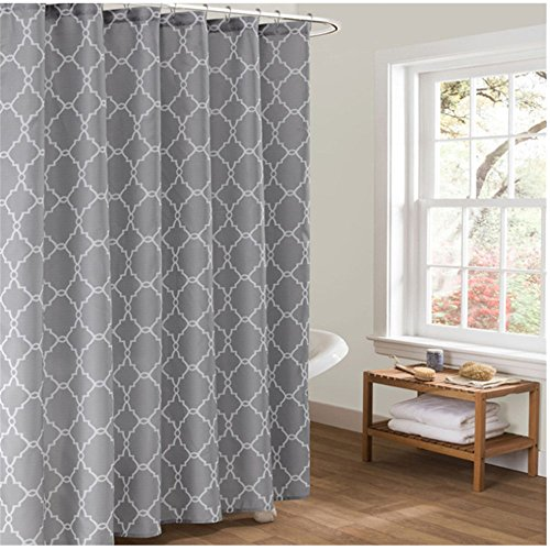 Moroccan Trellis Fabric Shower Curtain,Waterproof/Mildew Resistant Polyester Fabric Shower Curtain with 12 Hooks 71x71 inches Grey