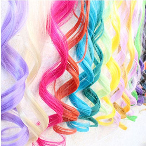 Bundle 6 Pieces of 20 Inches Multi-colors PartyBundle 6colors Party Highlights Colorful Clip In Wavy Synthetic Hair Extensions,Wavy Long Hairpieces ()
