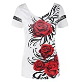 WM & MW Fashion Womens Sexy Black Lace Back Tops Short Sleeve O-Neck Rose Print T-Shirt Blouse Party Club Top