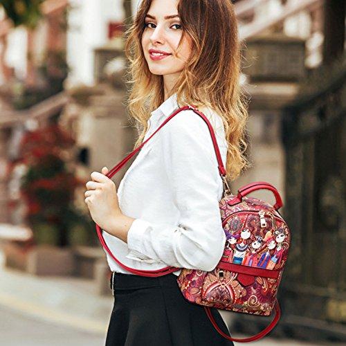 HeHe Mochila Cuero de la PU casual, mochila de viaje, mochila escolar para chicas Rojo - grande