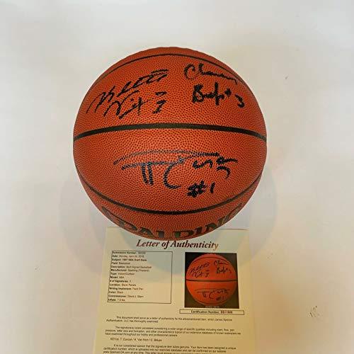 Tim Duncan 1997 Rookie Draft Picks Signed Spalding NBA Basketball With JSA - Nba Pieces Rookie