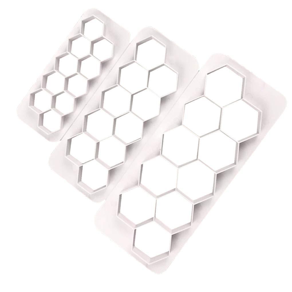 Gankmachine 3pcs Hexagon Shaped Plastic Biscuits Cutting Dies Geometric Cake Baking Utensils Molds Mould