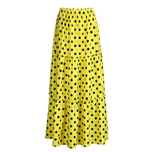 (VEZAD Women Fashion High Waist Polka Dot Printed Skirt Loose Ruffled Pleated)