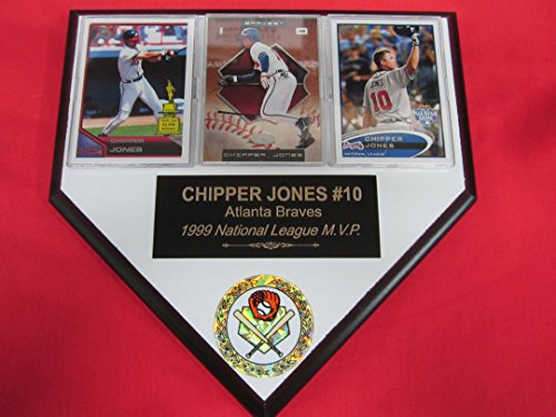 Chipper Jones Braves 3 Card Collector HOME PLATE Plaque EXCLUSIVE DESIGN to AMAZON!