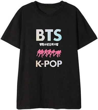BTS Camiseta Colorida Moda Mujer Camiseta Algodón Camisetas Camiseta Manga Corta Seca Corre Correr Corto Top Ropa Unisex: Amazon.es: Ropa y accesorios
