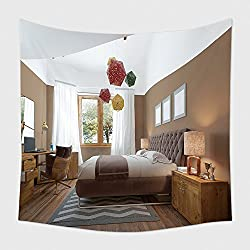 Home Decor Tapestry Wall Hanging Modern Bedroom In The Style Of Contemporary Bedside Tables With Lamps Shining On Them. The Bedroom Has A Dressing And A Desk With A Laptop And Decor. With Elegant Wood