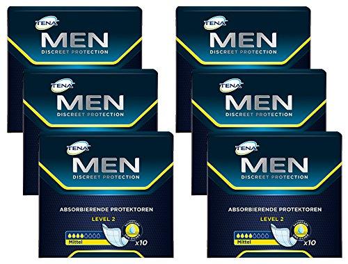 TENA MEN Level 2, Hygiene-Einlagen für Männer mit leichter bis mittlerer Blasenschwäche/ Inkontinenz - sicher, diskret & geruchsneutralisierend - Vorteilspack (60 ultradünne Einlagen)