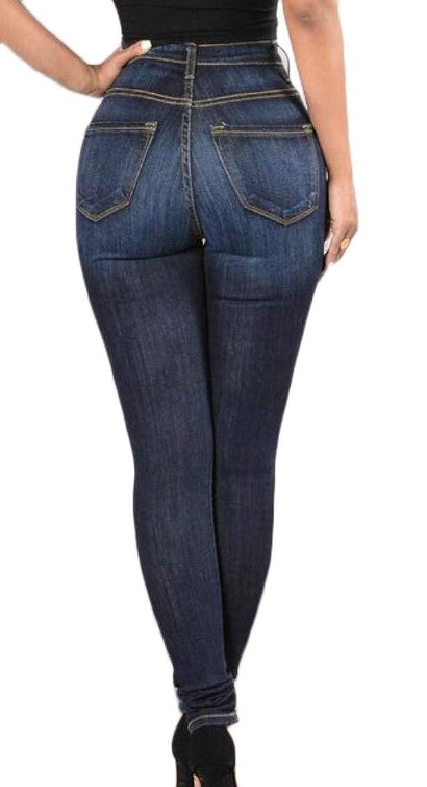 Jaycargogo Womens Casual High Rise Button-Fly Skinny Bodycon Elastic Jeans Denim Pants