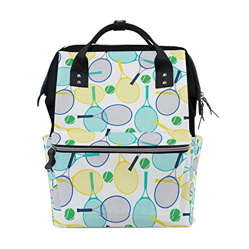 Large Capacity Travel Backpack Tennis Rackets Canvas Durable Mom Diaper Bag by Chen Miranda