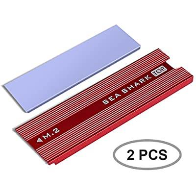 SmartElite M.2 NVME SSD Heatsinks, 2 Pack M.2 NVMe SSD Heatsinks Laptop PC Memory Cooling Fin Aluminum Heatsinks Cooling Fin with Silicone Thermal Pad for PCIe NVMe M.2 Internal SSD (2pcs) by SmartElite