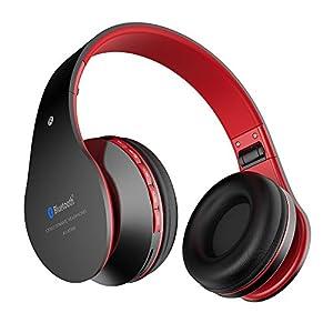 Casque sans fil bluetooth Aita BT809 Casque d'écoute stéréo Thor Casque d'écoute Bluetooth 4.1 avec microphone pour iPhone, Android et PC (Noir-Rouge) [Classe d'efficacité énergétique Autonomie en veille: 200 heures]