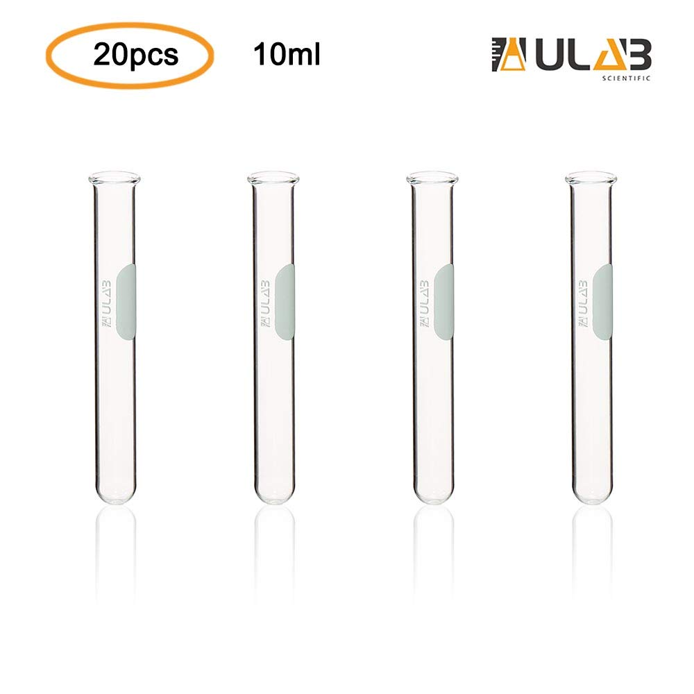 ULAB Scientific Glass Test Tube with Rim, Shot Glass, Cocktail Party Tubes, Cap.10ml, 13x100mm, 3.3 Borosilicate Glass Material, Pack of 20, UTT1007 by ULAB