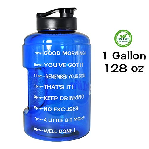 QuiFit 1 Gallon/128oz Water Bottle Reusable Leak-Proof Drinking Water Jug for Outdoor Camping Hiking BPA Free Plastic Sports Water Bottle with Daily Time Marked(deep Blue)