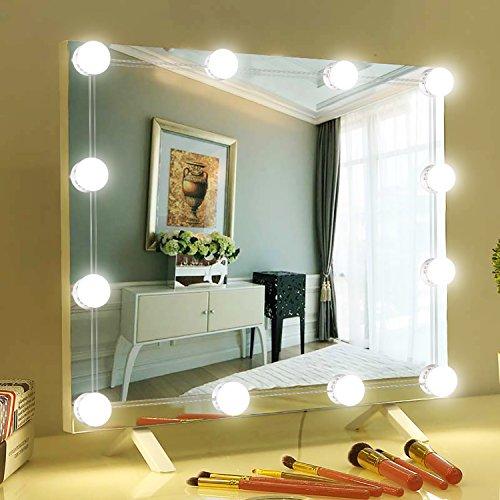 LED Vanity Lights Hollywood Style String Lights Dimmable Bathroom Makeup Mirror Light 7000K White Lights 12 Hidden Adjustable Length Vintage Light Bulb USB LED Lights (Mirror Not Included)