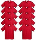 Gildan boys Heavy Cotton T-Shirt(G500B)-RED-M-10PK