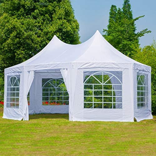 Erommy 20x15ft Party Tent Gazebo Pavilion Adjustable Removable Sidewalls White Shelter