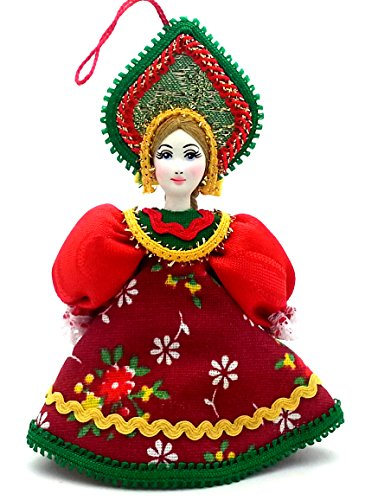 [CHRISTMAS Tree Ornament Russian Doll in traditional folk costume with porcelain hand painted face / Girl in a red flower dress] (Porcelain Doll Costumes)