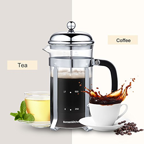 Bonsenkitchen French Press Coffee & Tea Maker, 8 Cup/32 oz, 304 Stainless-Steel Lid, Presser and Frame, Heat Resistant Borosilicate Glass Pot, (CP8871) by Bonsenkitchen (Image #4)