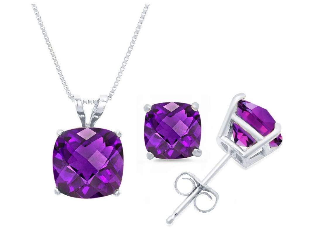 14k White Gold Cushion-Checkerboard-Cut Amethyst Pendant Necklace & Stud Earring Boxed Set, 18''