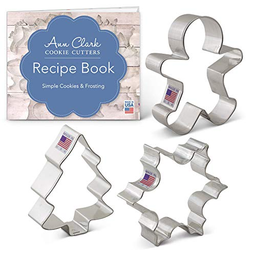 Ann Clark Cookie Cutters 3-Piece Christmas and Holiday Cookie Cutter Set with Recipe Booklet, Snowflake, Gingerbread Man and Christmas Tree