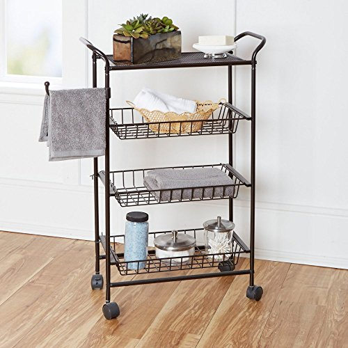 chapter bathroom storage cart with towel hook oil rubbed bronze - Bathroom Cart