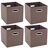 BEWISHOME Foldable Cube Storage Bins[4 pack],Collapsible Fabric Storage Baskets with Easy-access Durable Mental Handles for Closet Cube Organizers Home,Office,Bedroom,Kid's Room,Brown YYL04Z