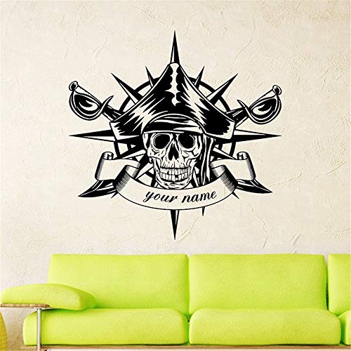 Wall Sticker Lettering Wall Art Sticker Removable Letters Quote Art Skull Halloween Compass Swords Pirate Sticker Punk Death Decal Devil Name Car Window -