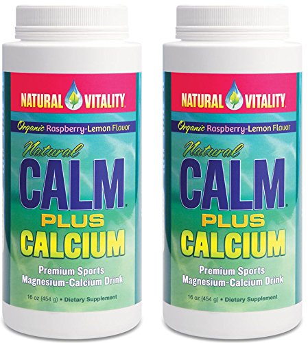 Natural Vitality Natural Magnesium Calm Plus Calcium, Rasbpery Lemon (2 Bottles of 16 Ounce) -