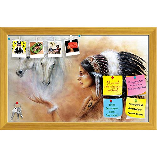 (Artzfolio Woman Wearing Feathers with Two White Horse Spirits Printed Bulletin Board Notice Pin Board | Golden Frame 18.8 X 12Inch)