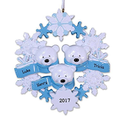 GiftsForYouNow Personalized Polar Bear Family of 3 Ornament, 4