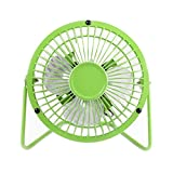 Mini Fan USB Fan Table Desk Personal Fan High Velocity Fan Oscillating Metal Design Quiet Operation Fan Grill Guard with USB Cable High Compatibility(Green)